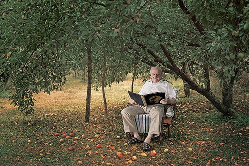idős úr a kertben