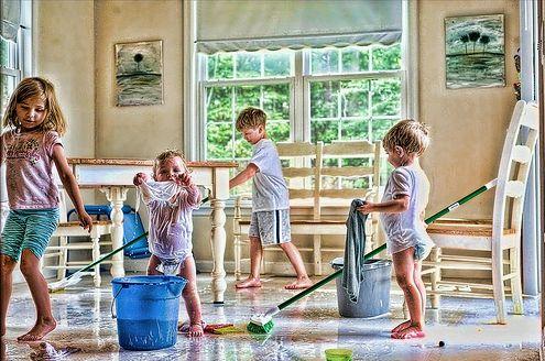 takarító gyerekek