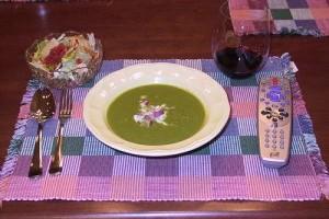 Mentás-currys zöldborsóleves
