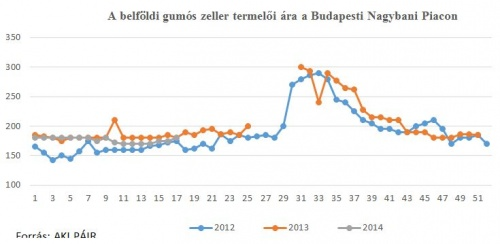 A belföldi gumós zeller termelői ára (17. hét)