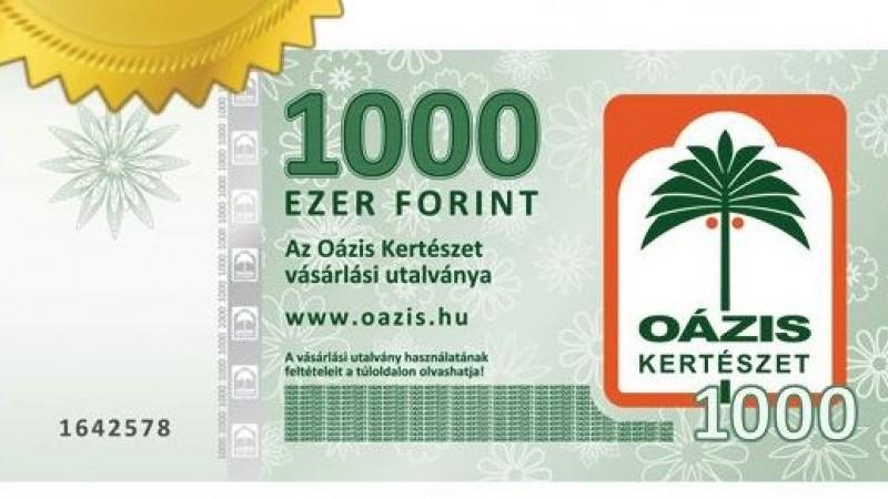 10 000 Ft OÁZIS utalvány az Édenkert.hu fotójáték nyereménye