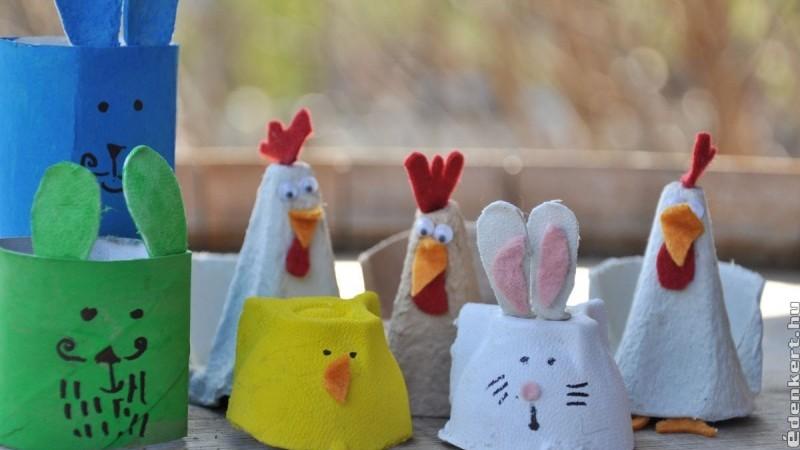 Húsvéti figurák tojástartóból